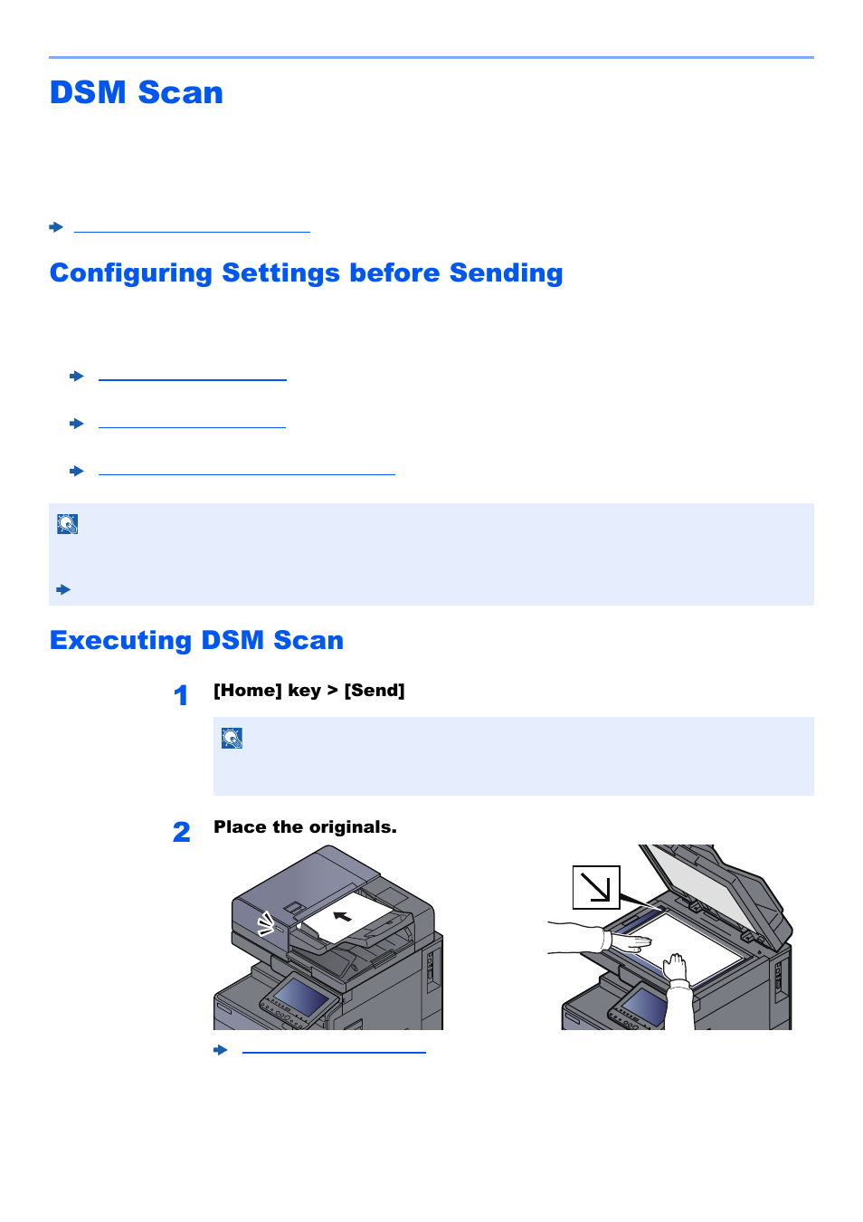 Dsm scan, Configuring settings before sending, Executing dsm