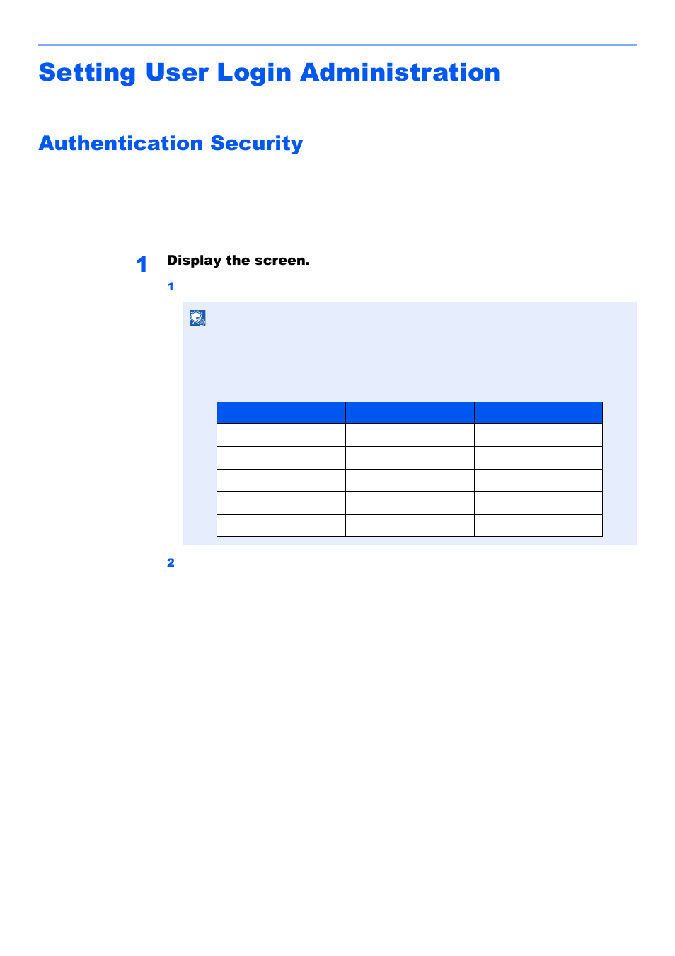 Setting user login administration, Authentication security, Setting