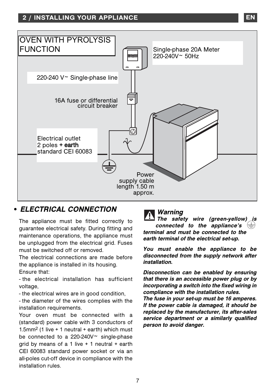 Electrical connection, Oven with pyrolysis function | DE DIETRICH ...