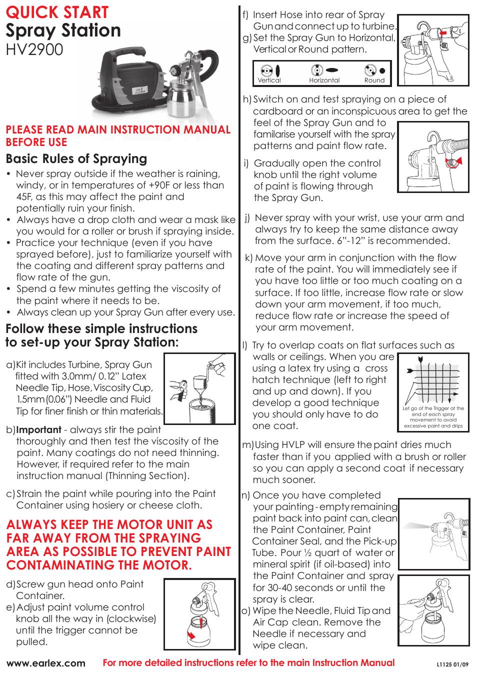 Earlex SPRAY STAT??ON HV2900 User Manual | 1 page