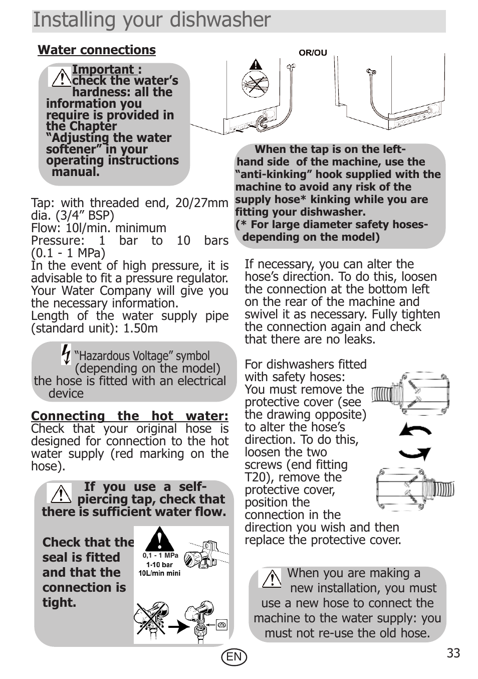 Installing Your Dishwasher De Dietrich Dvf300je1 User Manual