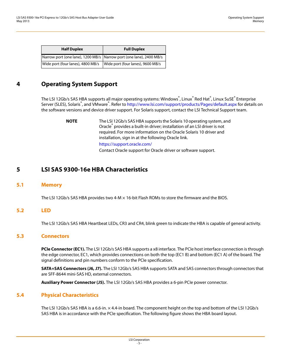 4 operating system support, 5 lsi sas 9300-16e hba characteristics