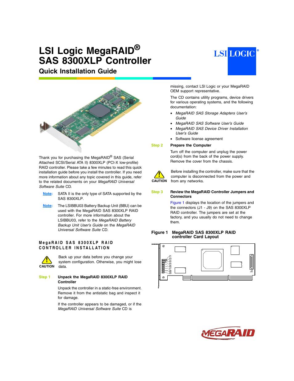 Avago Technologies MegaRAID SAS 8300XLP User Manual | 3