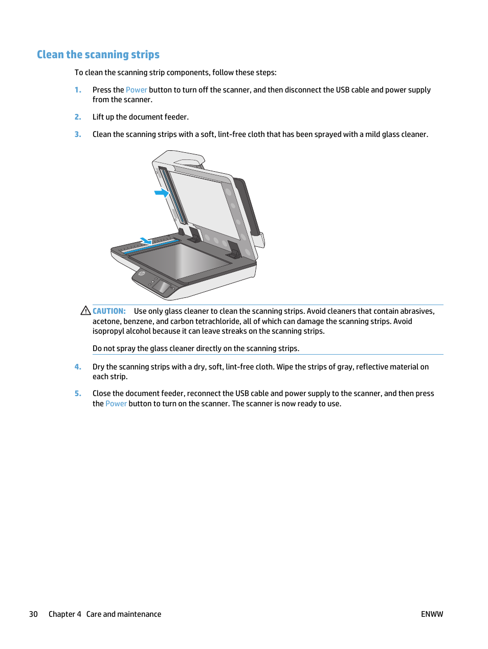 Clean the scanning strips | HP ScanJet Pro 4500 fn1 User Manual