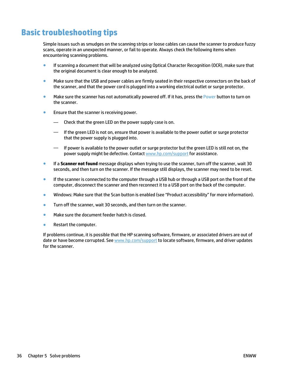 Basic troubleshooting tips | HP ScanJet Pro 4500 fn1 User Manual