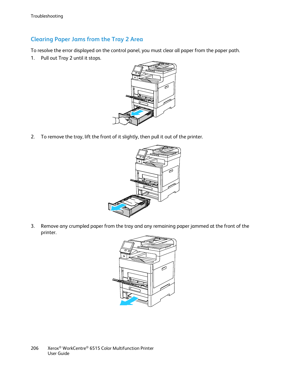 Clearing paper jams from the tray 2 area | Xerox WorkCentre