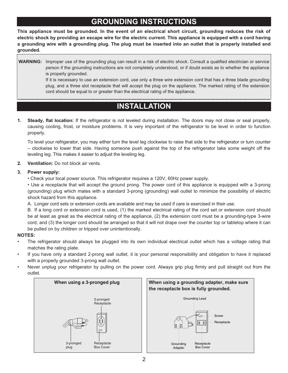 Grounding instructions installation | Emerson CR500 User Manual | Page 3 /  11