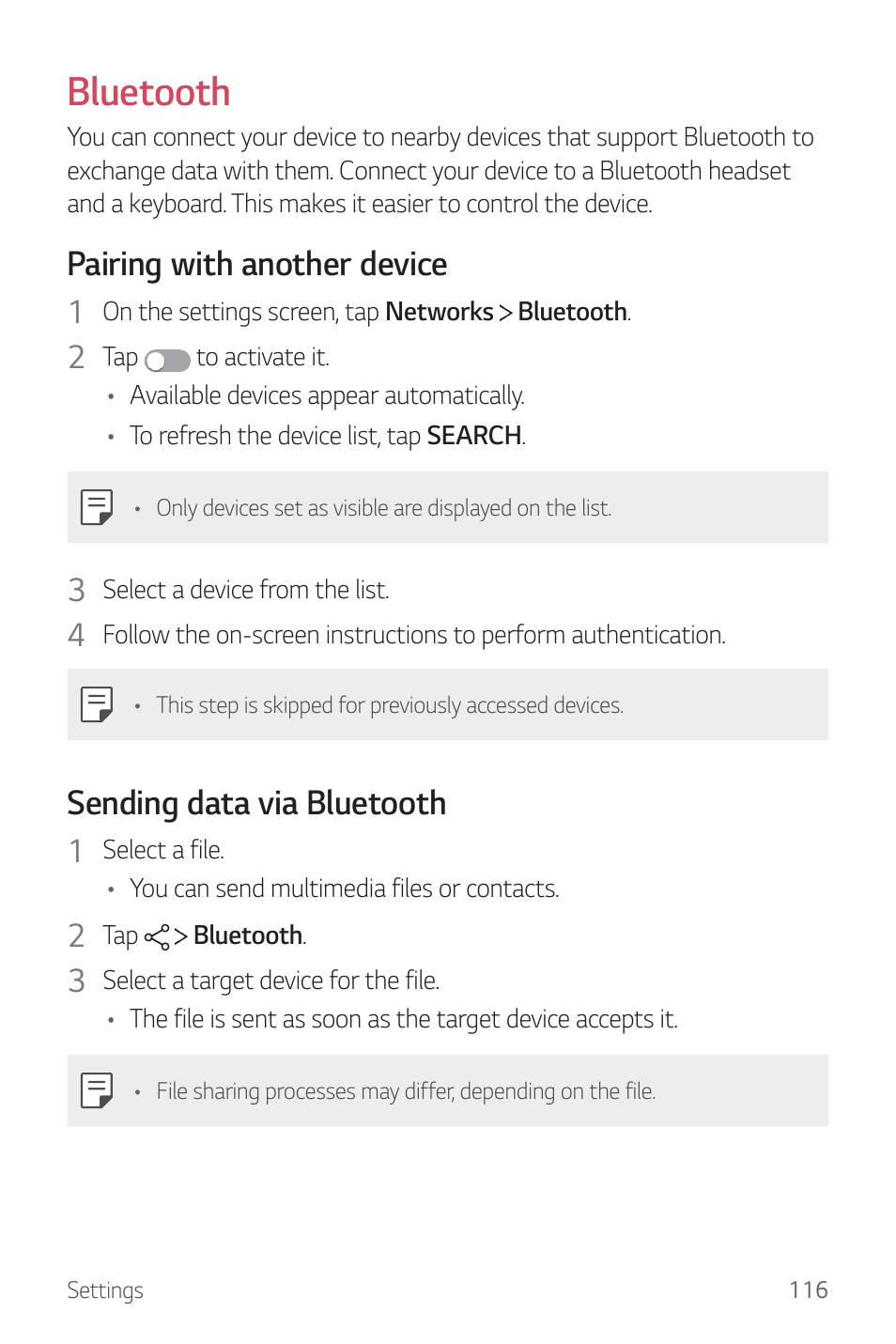 Bluetooth, Pairing with another device, Sending data via