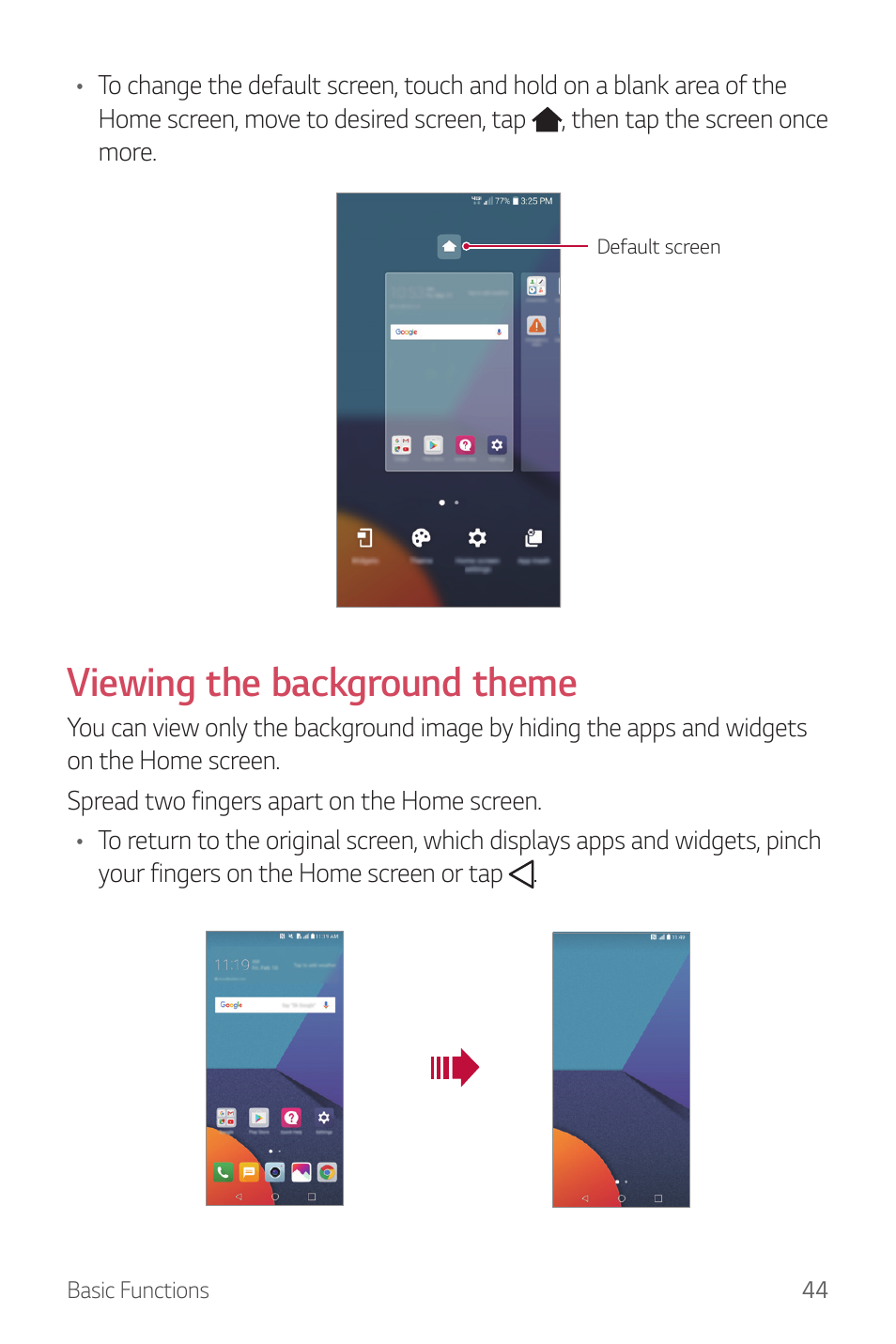 Viewing the background theme | LG G6 H872 User Manual | Page