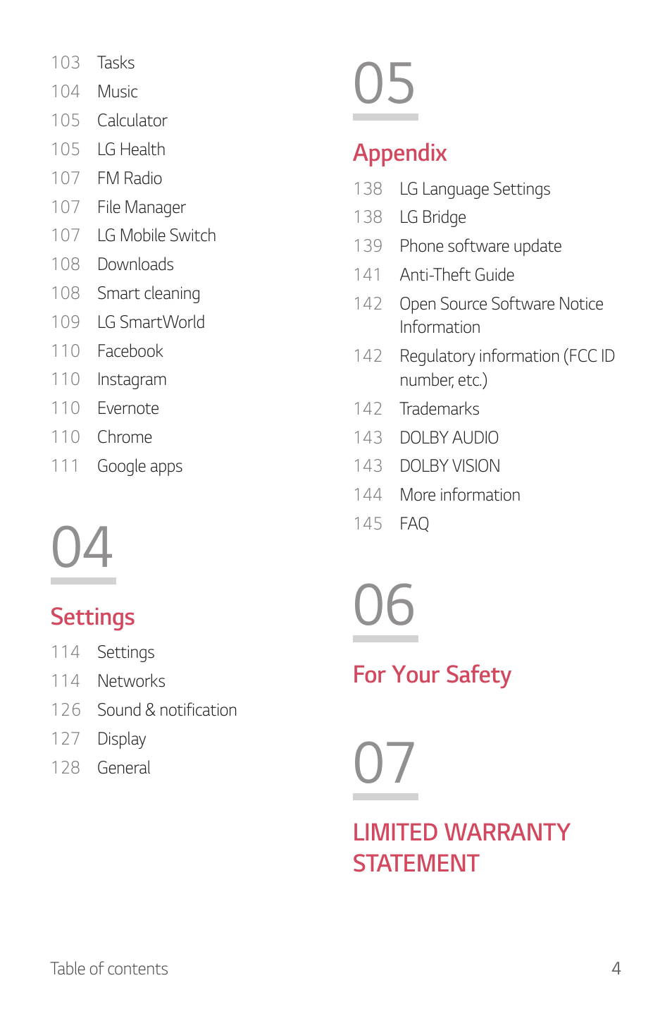 Settings, Appendix, For your safety | LG G6 H872 User Manual