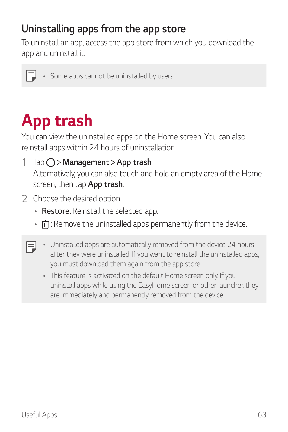 App trash, For details, Uninstalling apps from the app store | LG G6