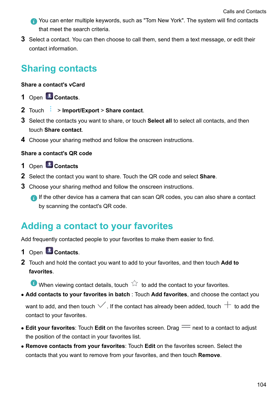 Sharing contacts, Share a contact's vcard, Share a contact's qr code