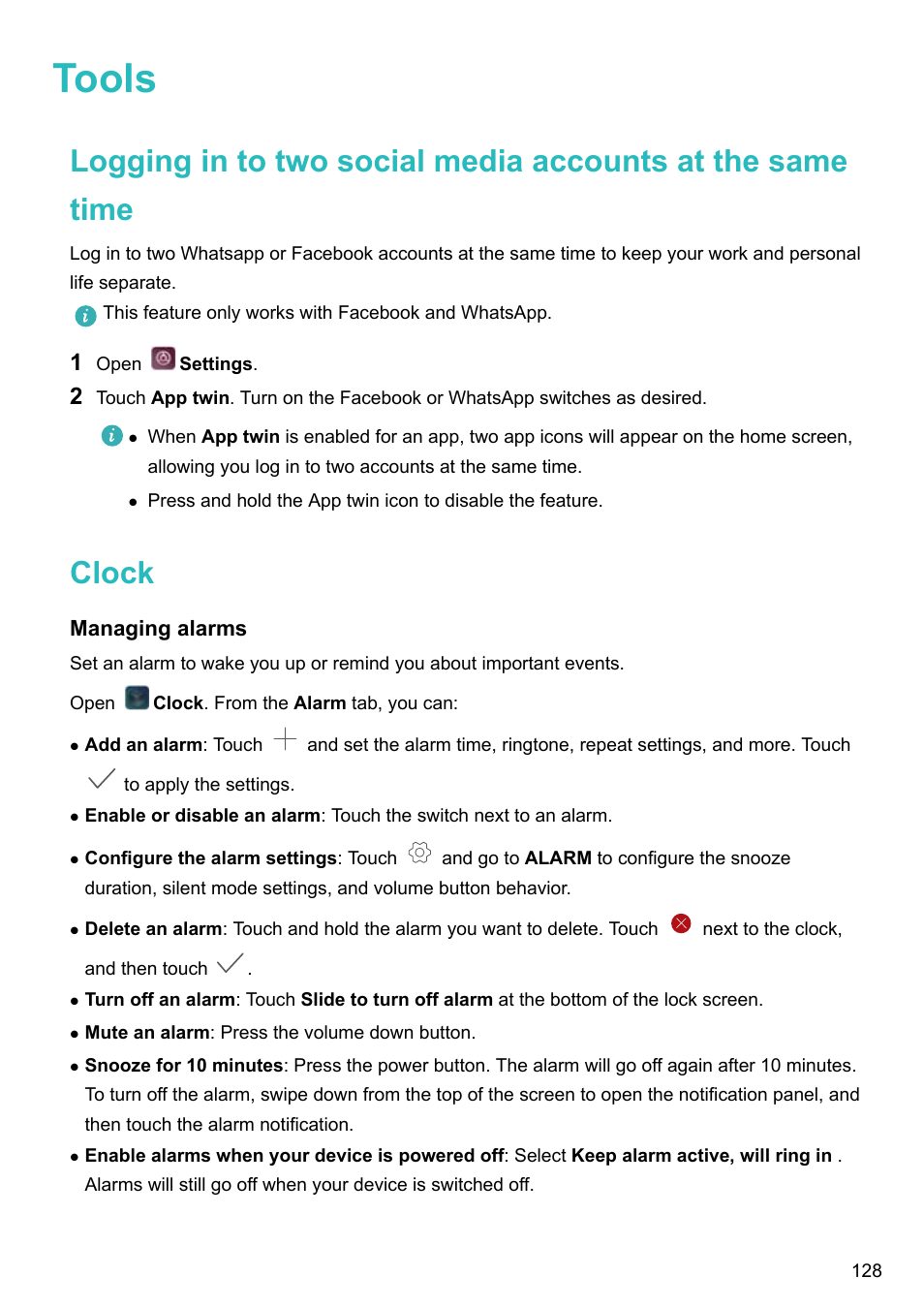 Tools, Clock, Managing alarms   Huawei P10 User Manual   Page 134 / 158