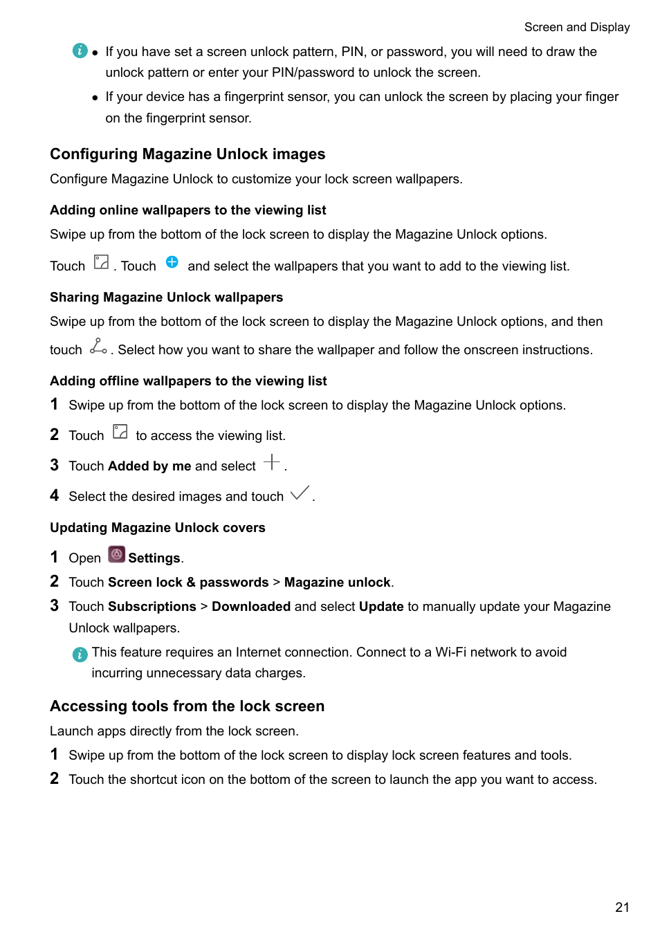 Configuring magazine unlock images, Adding online wallpapers to the on