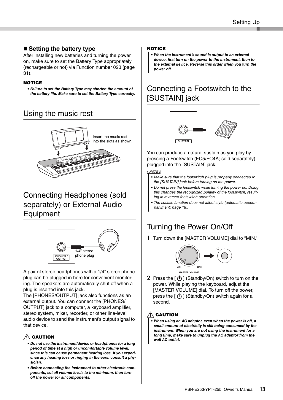 Using The Music Rest Connecting A Footswitch To Sustain Jack Wiring 1 4 Out Put Turning Power On Off Yamaha Psr E253 User Manual Page 13 48