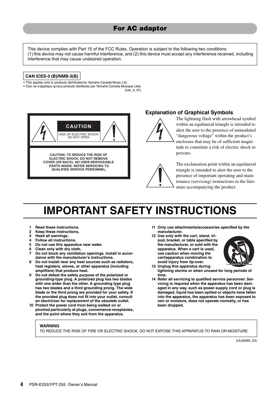 important safety instructions for ac adaptor explanation of rh manualsdir com Yamaha Stereo Manuals Yamaha DSP Cinima User Manuals