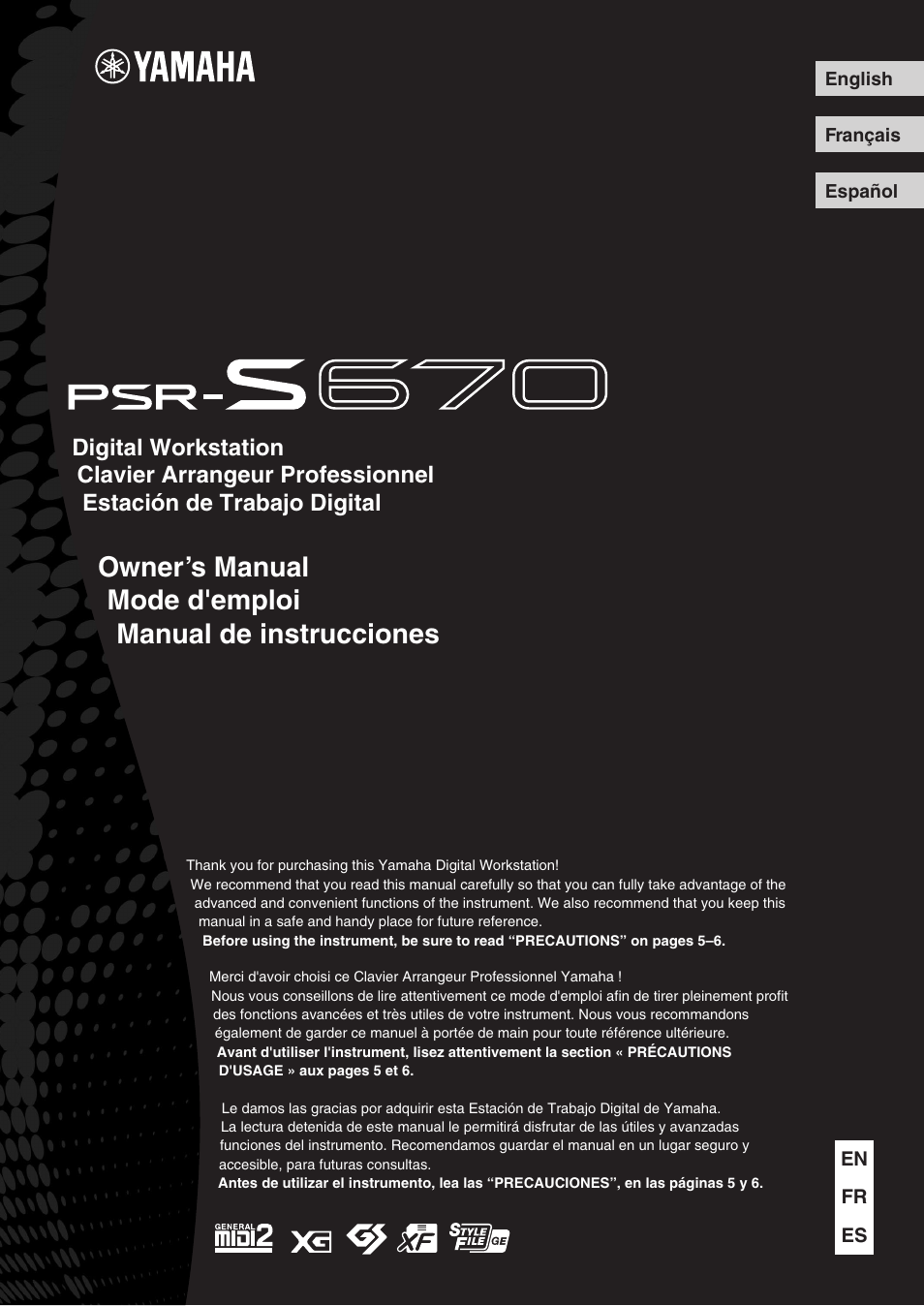 Yamaha PSR-S670 User Manual | 108 pages
