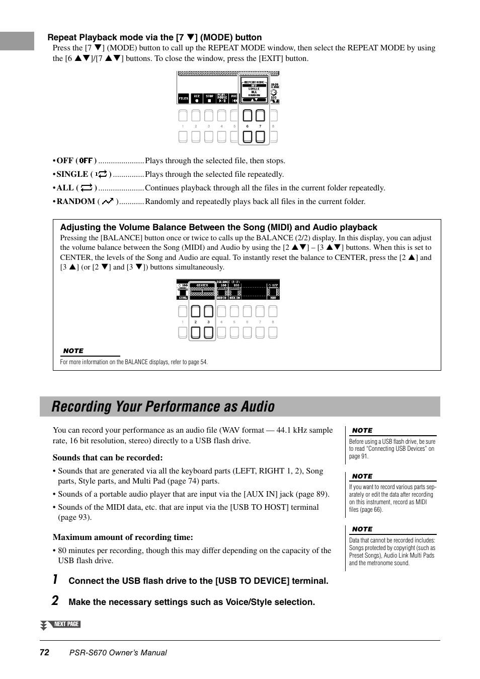 recording your performance as audio yamaha psr s670 user manual rh manualsdir com Manual Camera Settings Manual vs TTL Flash