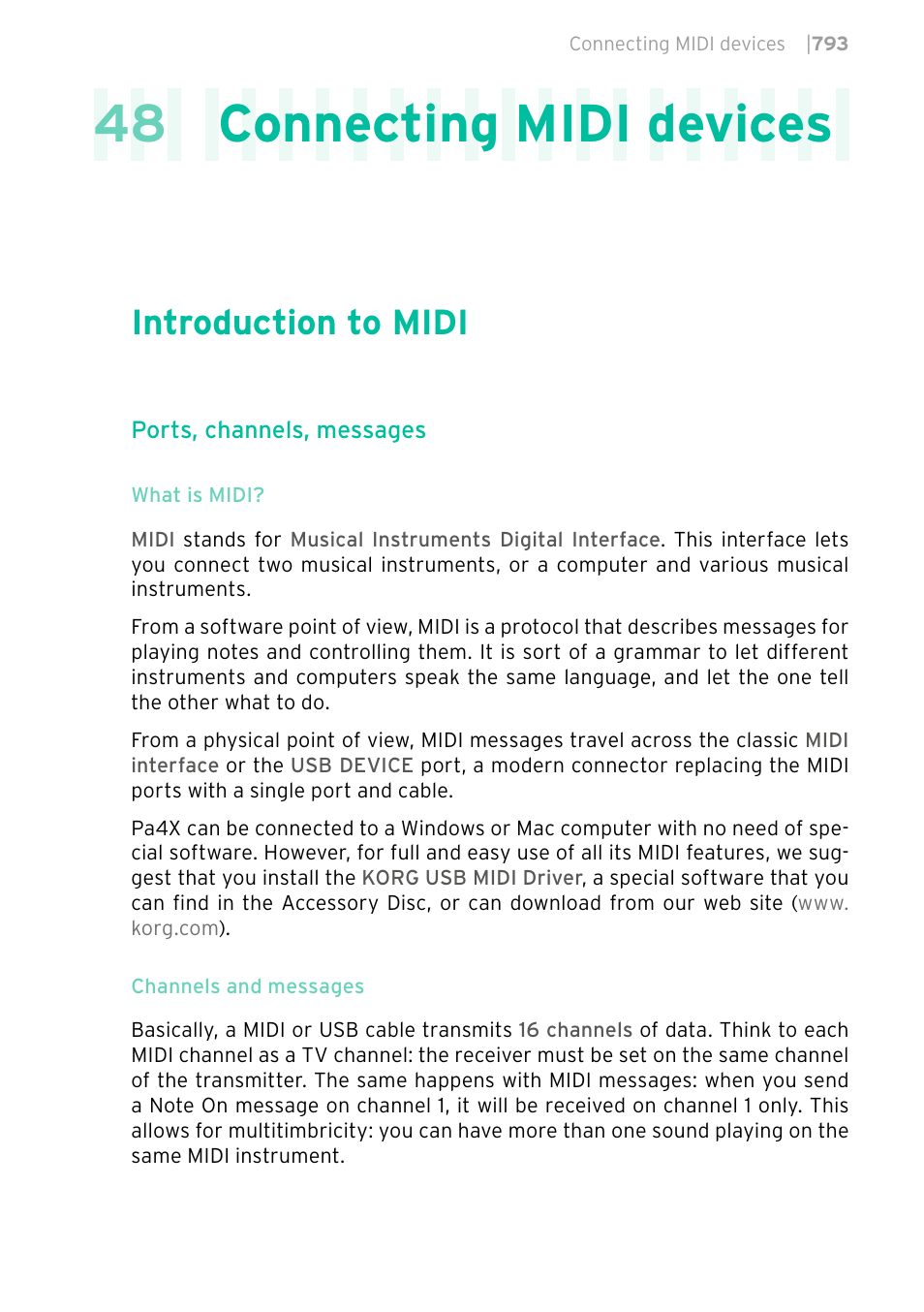 Connecting midi devices, Introduction to midi, 793