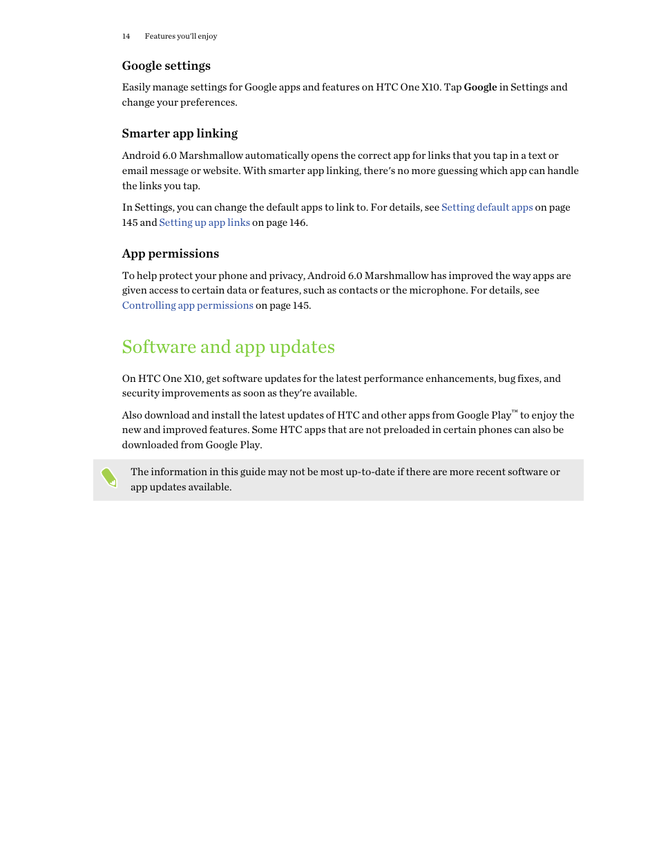 Software and app updates | HTC One X10 User Manual | Page 14 / 161