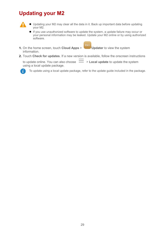 Updating your m2   Huawei MediaPad M2 10 1 (M2-A01L) User Manual