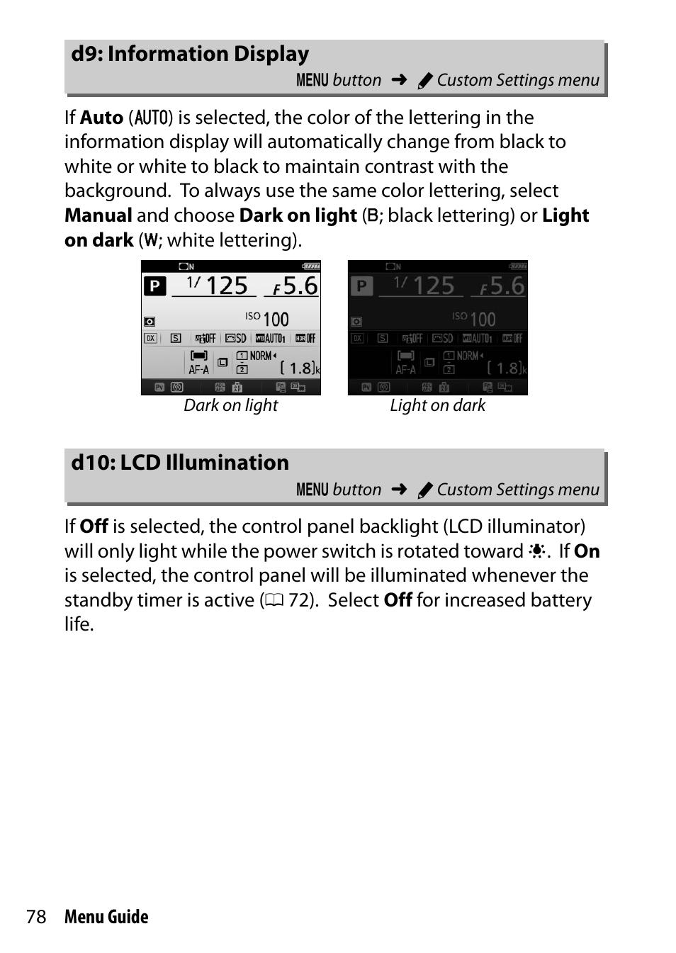 D9: information display, D10: lcd illumination | Nikon D7200 body