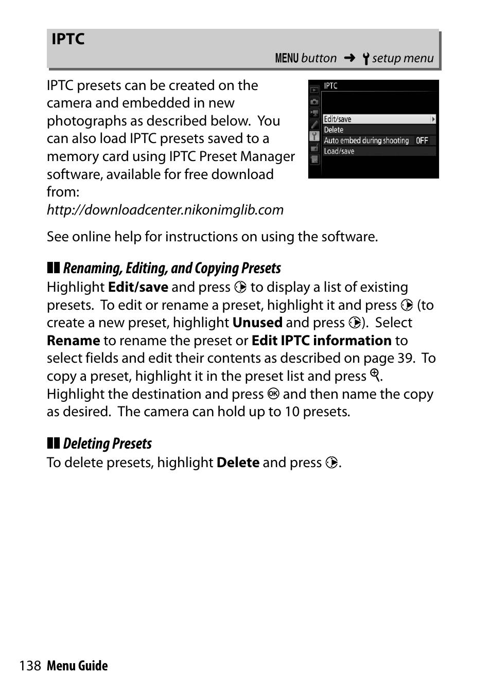 Iptc   Nikon D500 User Manual   Page 138 / 207