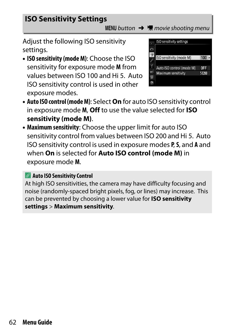 iso sensitivity settings nikon d500 user manual page 62 207 rh manualsdir com ISO Manual Template ISO Quality System Manual