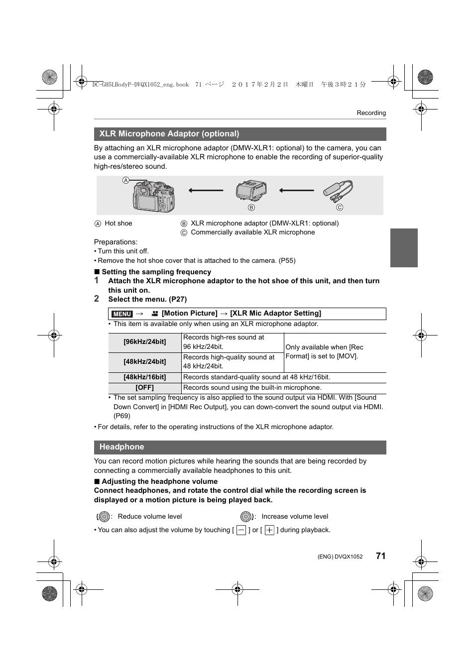 Panasonic Lumix GH5 User Manual | Page 71 / 128