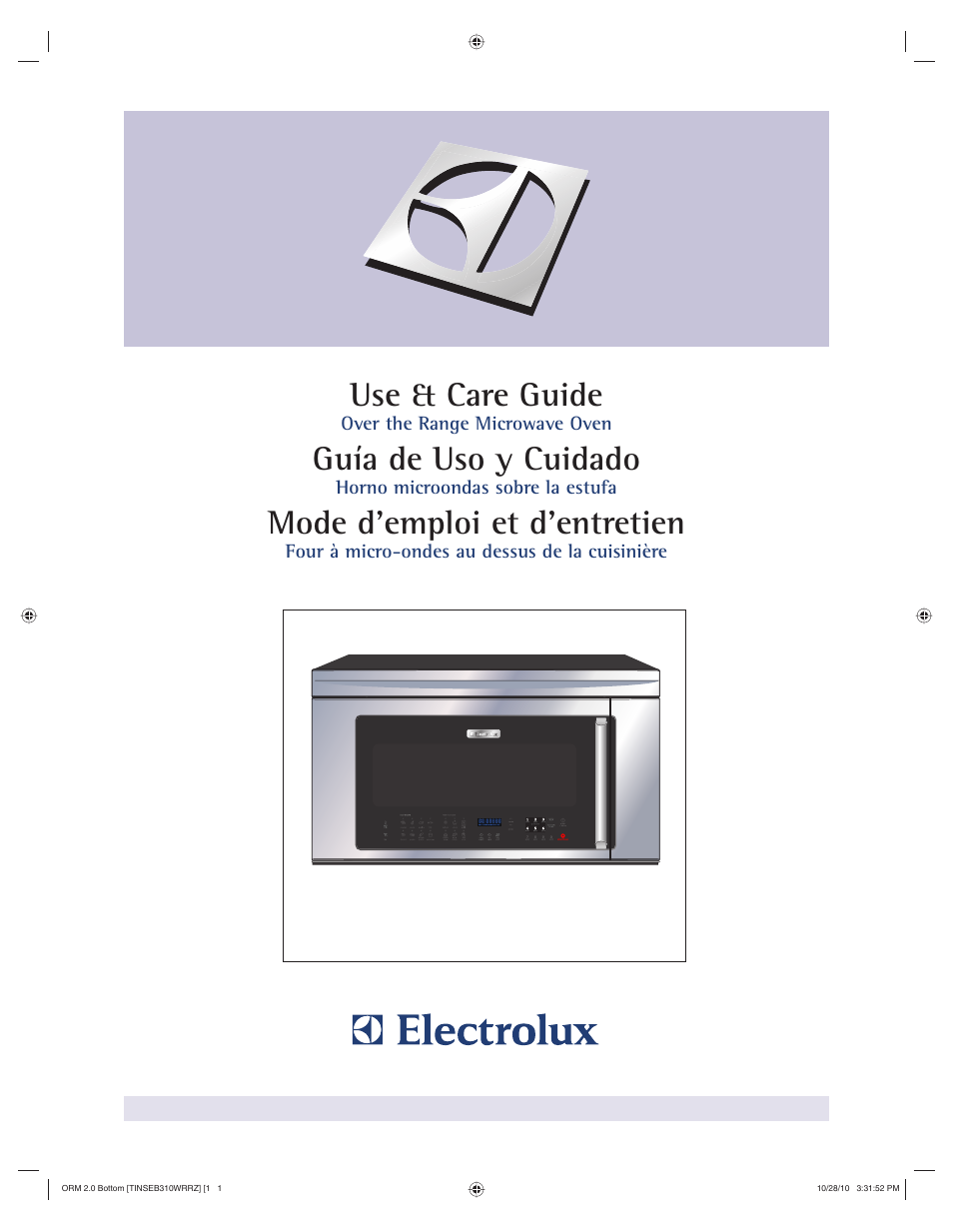 Micro Onde Au Dessus Du Four electrolux over the range microwave oven 316902903 user