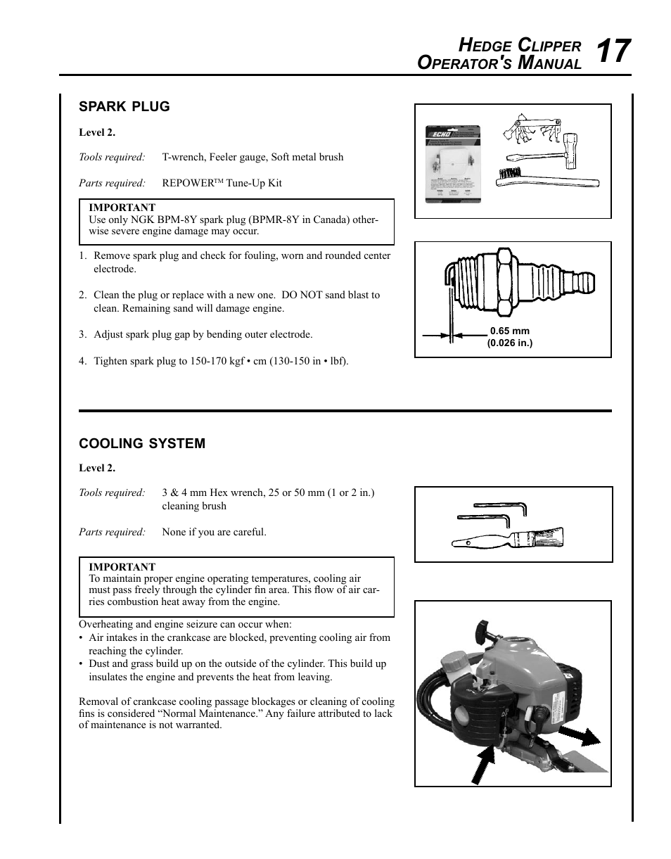 Spark plug, Cooling system | Echo HC-235 User Manual | Page