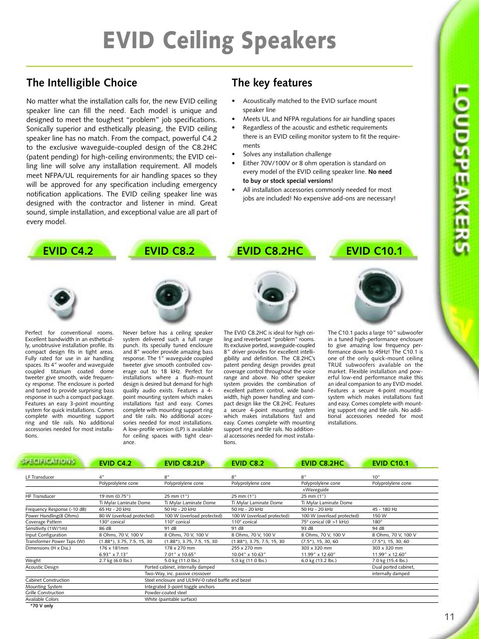 Evid ceiling speakers, Evid c4.2, Evid c8.2 | Evid c8