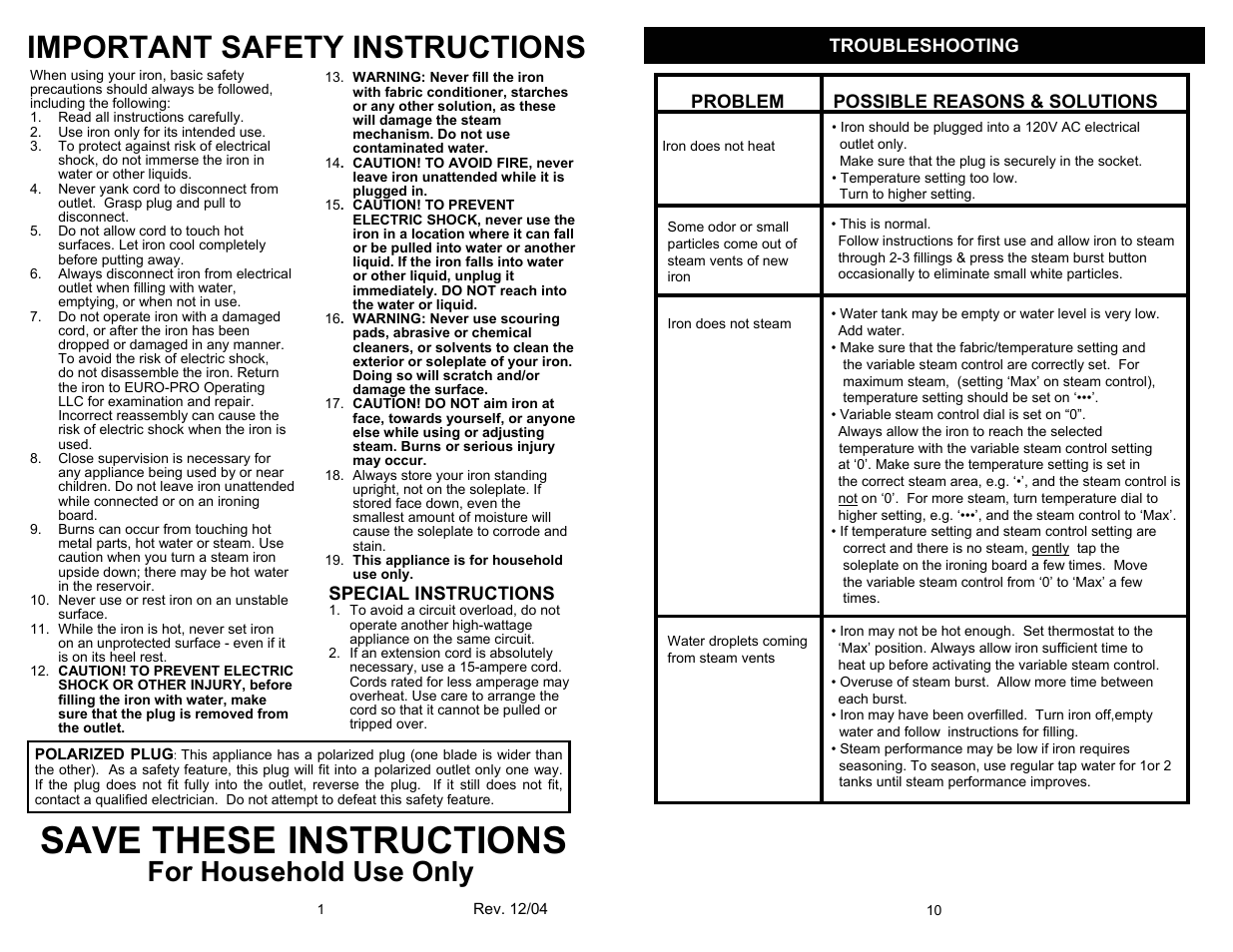 Save these instructions, Important safety instructions, For household use  only | Special instructions |