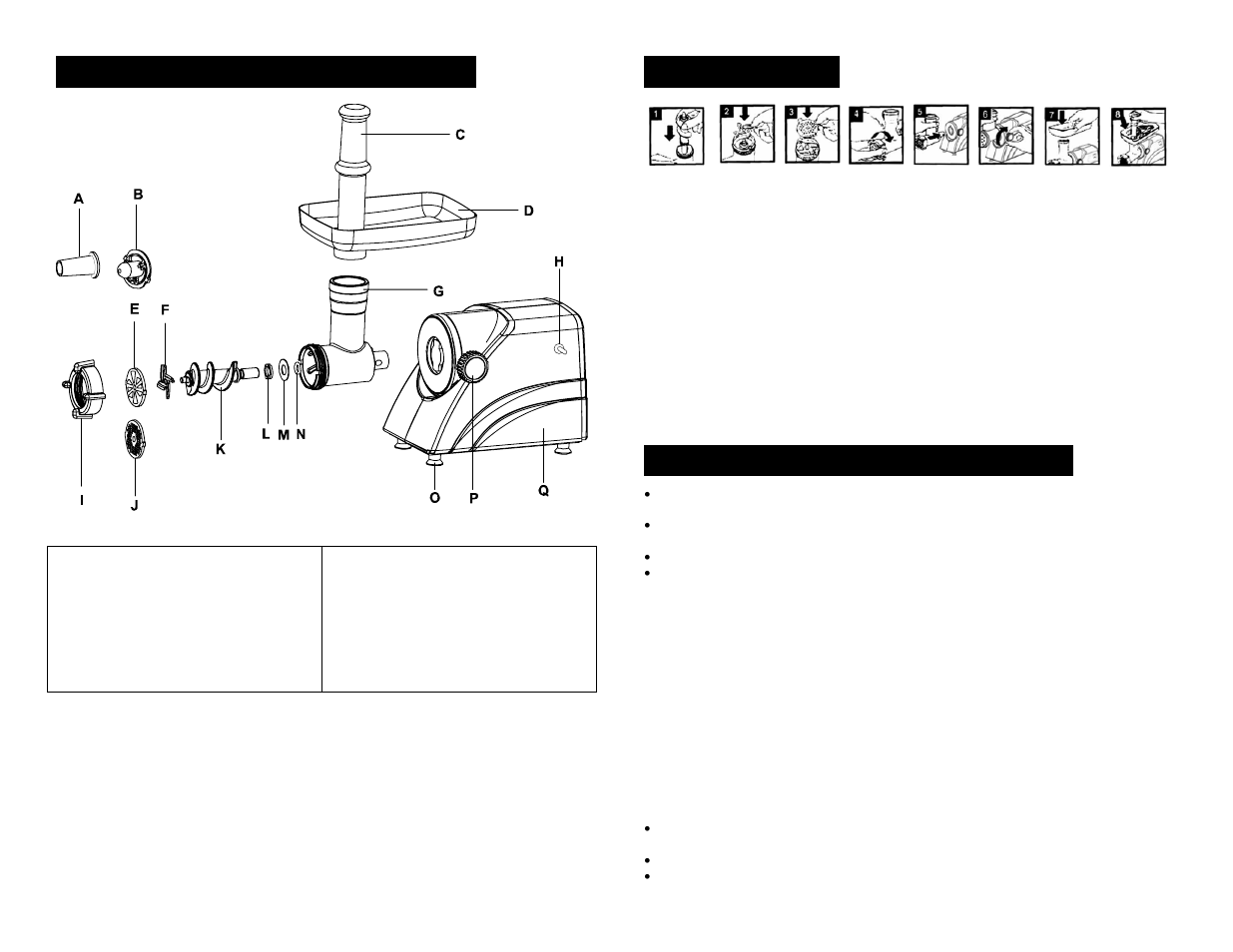 Parts & identification, Assembly, Using the meat grinder