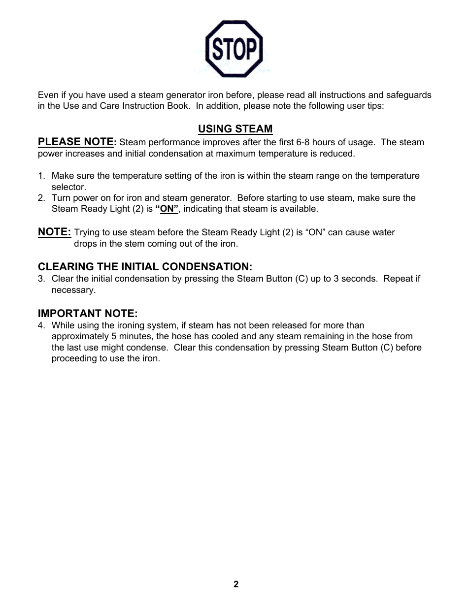 Euro-Pro STEAM GENERATOR IRON EP8001 User Manual | Page 3 / 12