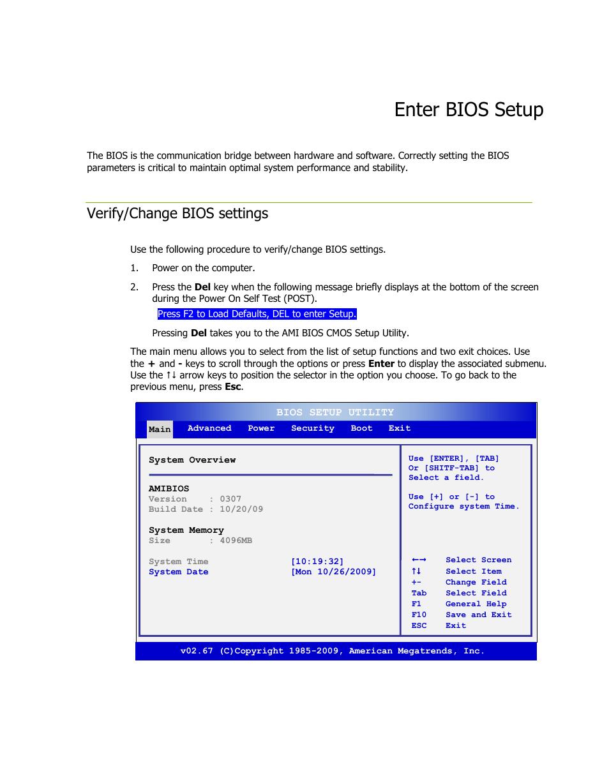 Enter bios setup, Verify/change bios settings | EVGA H55V User