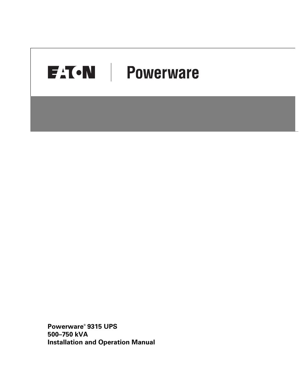 eaton powerware 9315 user manual