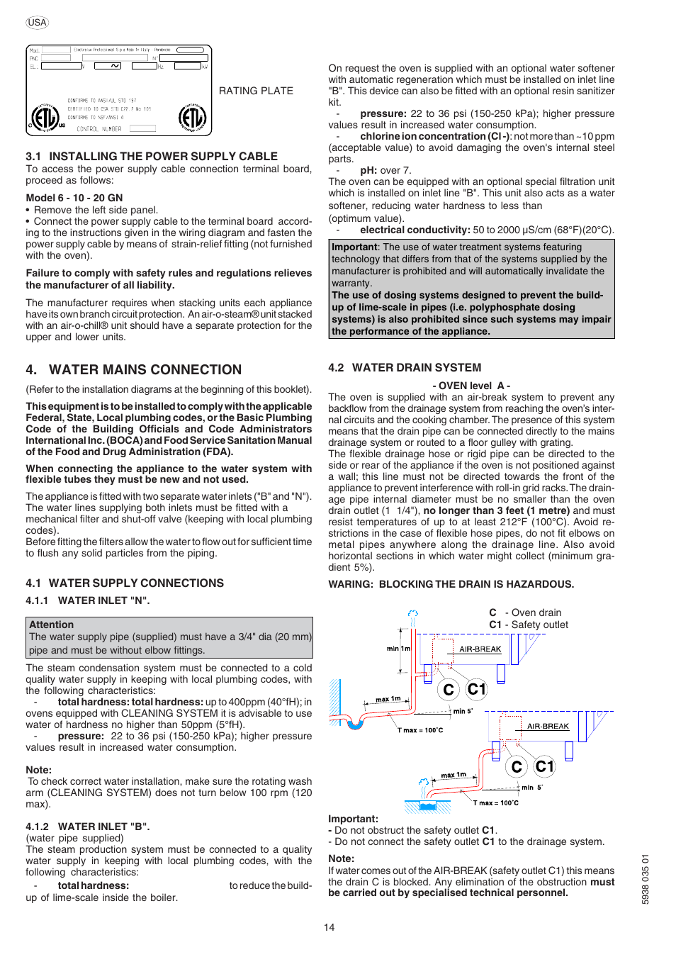 water mains connection electrolux air o convect 269083 user manual rh manualsdir com User Manual Icon Manuals in PDF