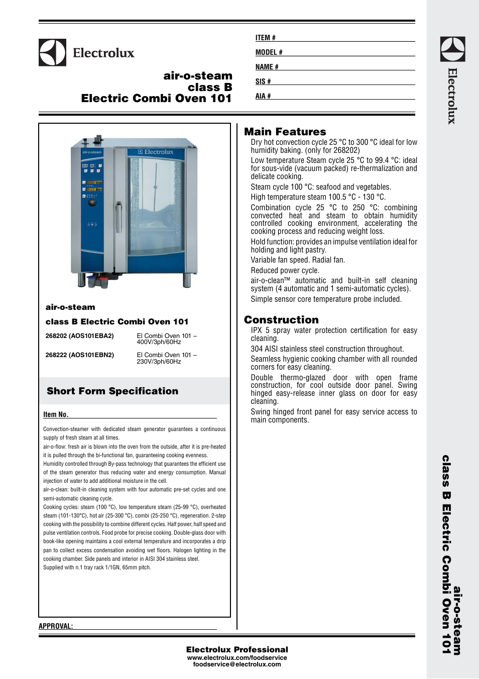 Electrolux air-o-steam class B Electric Combi Oven 101 268202 User Manual |  3 pages