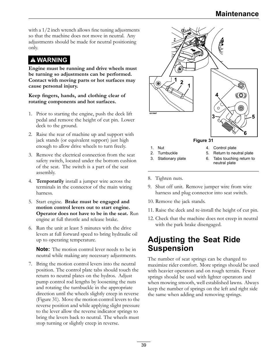 Adjusting the seat ride suspension, Maintenance, Warning