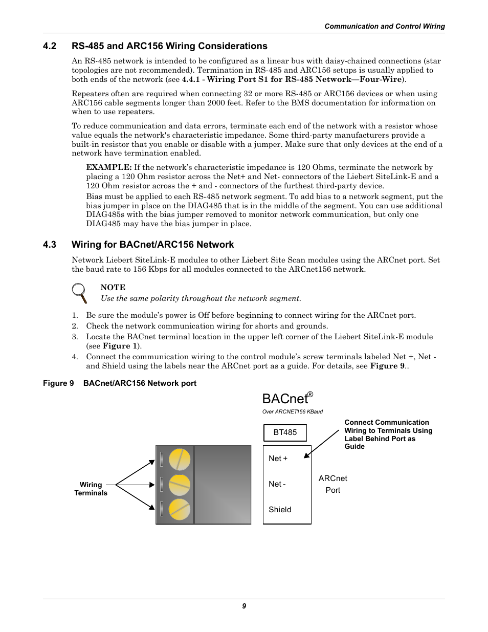 carrier weathermaker bacnet wiring diagram 2 rs-485 and arc156 wiring considerations, 3 wiring for bacnet/arc156 network, figure 9 bacnet ... votage bacnet wiring