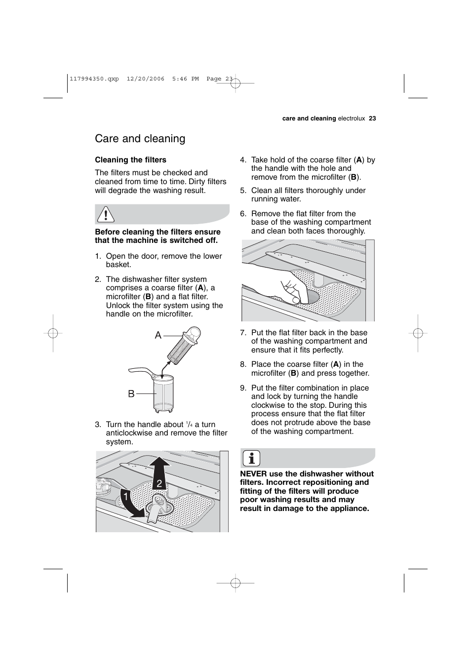 care and cleaning electrolux dishlex dx303 user manual page 23 rh manualsdir com aeg electrolux dishwasher service manual electrolux dishwasher owners manual