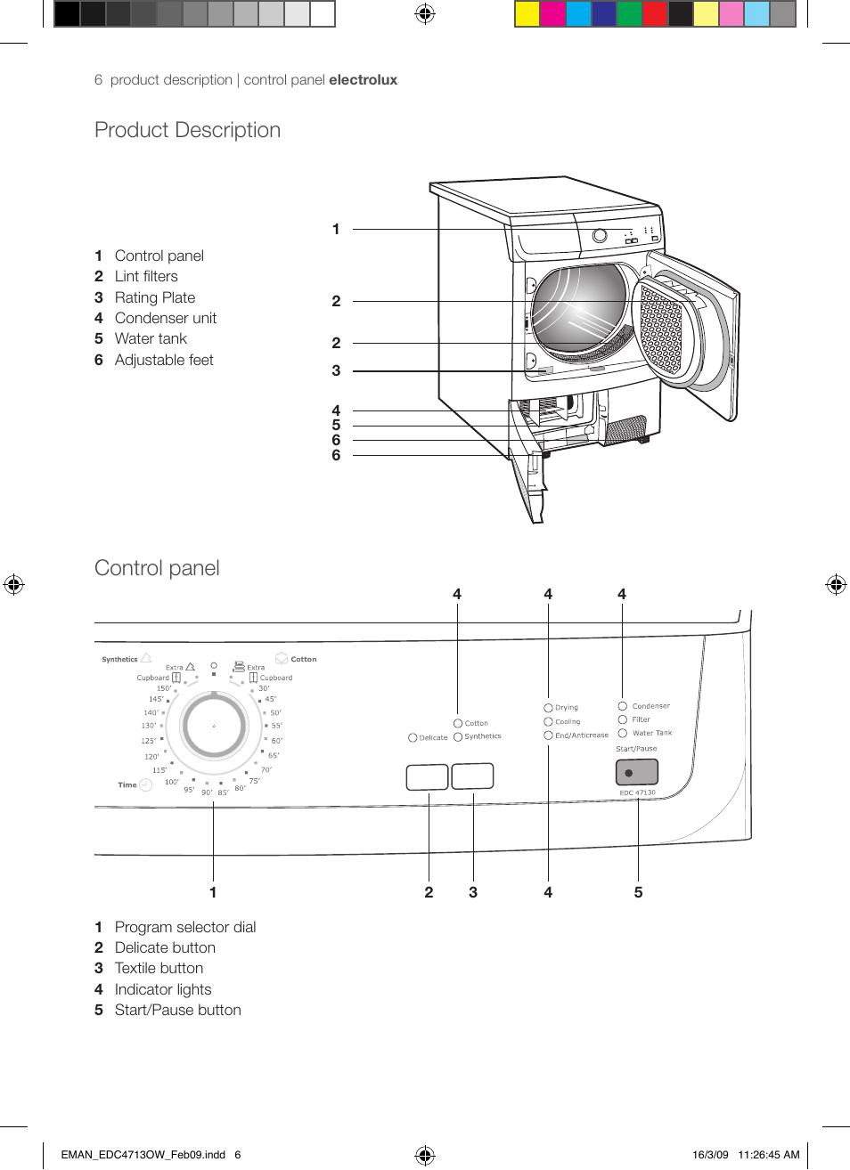 product description control panel electrolux edc47130w user rh manualsdir com