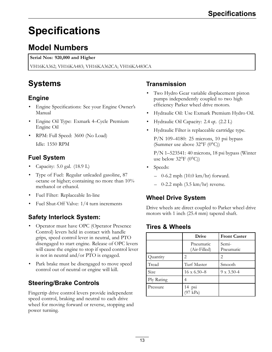 Specifications, Model numbers systems, Model numbers | Exmark Viking