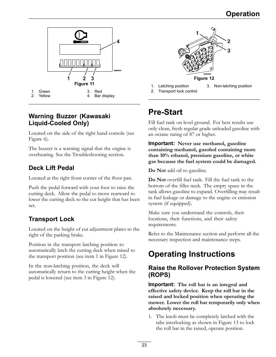 Pre-start operating instructions, Pre-start, Operating