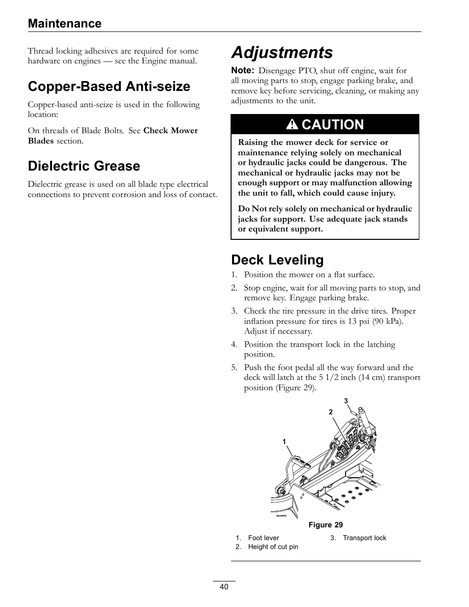 Copper-based anti-seize dielectric grease, Adjustments, Deck leveling |  Copper-