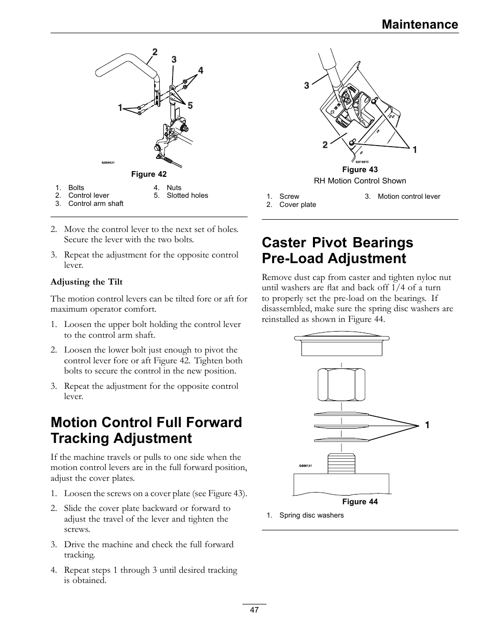 Motion control full forward tracking, Adjustment, Caster