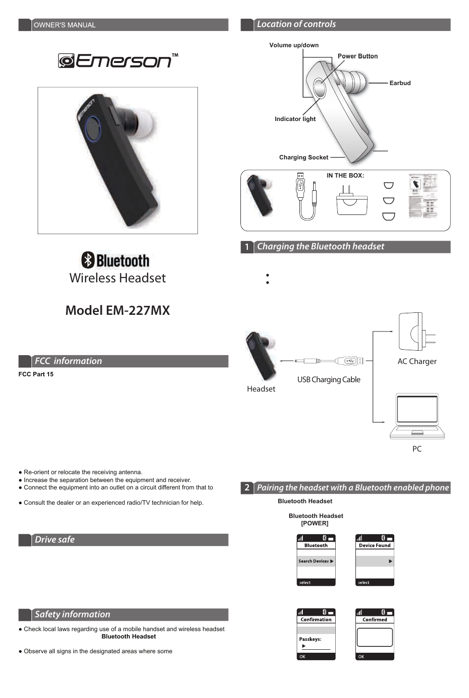Emerson Em227mx User Manual 2 Pages