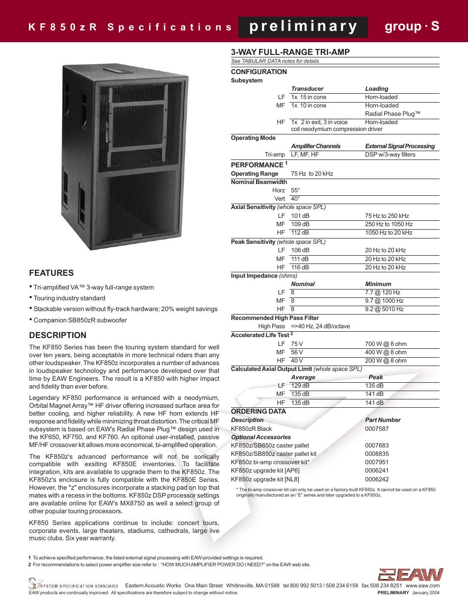 eaw kf850zr user manual 4 pages rh manualsdir com