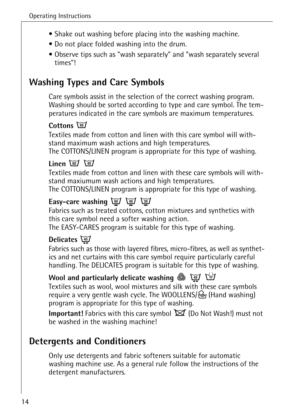 Washing types and care symbols detergents and conditioners washing types and care symbols detergents and conditioners electrolux 86720 user manual page 14 52 buycottarizona Gallery